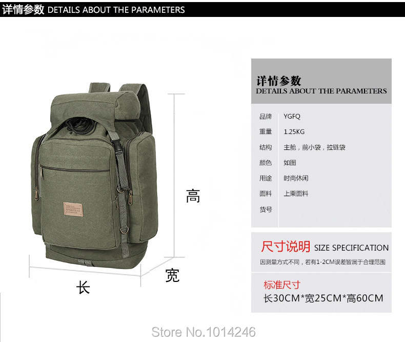 Hot Sale Men Bags Men Travel Bag Top Quality Army Canvas Backpack