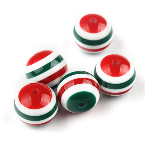 20mm Red/White/Green Easter Beads Resin Striped Chunky Bubblegum Beads 100Pcs/lot Wholesale(China (Mainland))