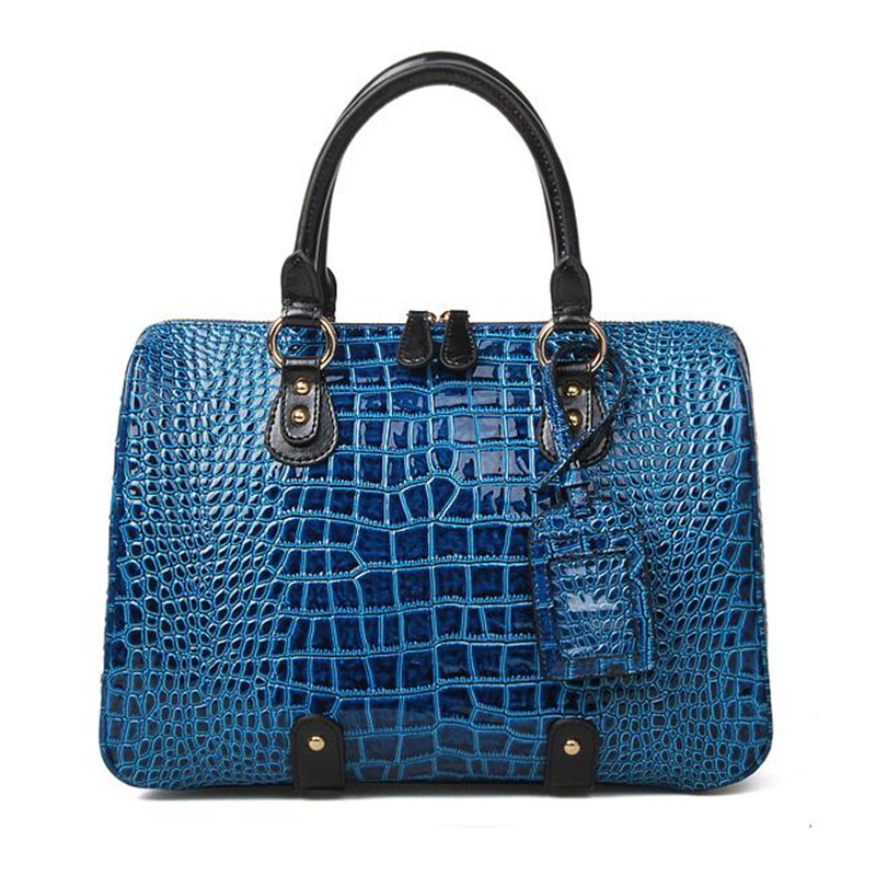 Fashion fashion cowhide women's handbag color block crocodile pattern big bags japanned leather 2013 women's handbag