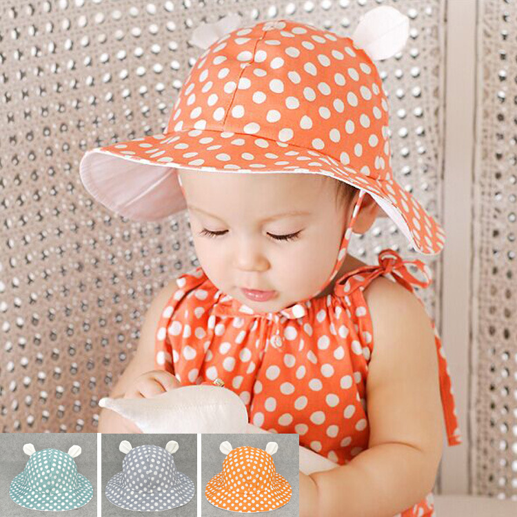 New Arrival Baby Fedoras Hats With Cat Ear and Dot swag For Infant 3-10 months(China (Mainland))