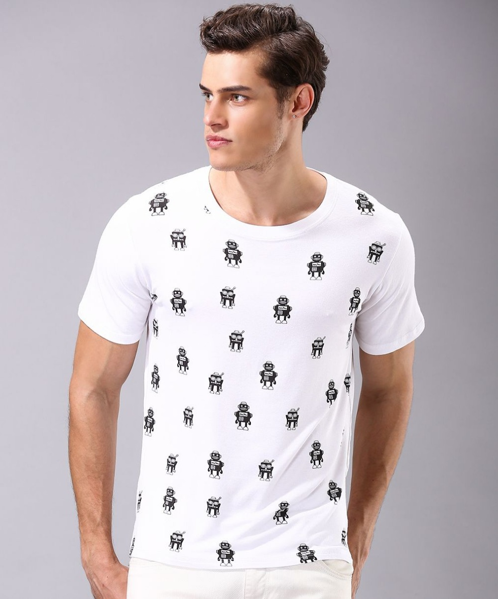2015 summer style fashion star wars t shirt mens tin robot for Mens shirt with stars