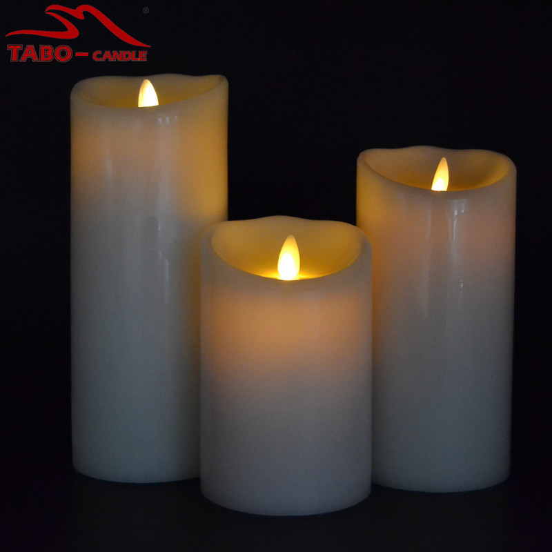 Battery operated real wax flickering moving wick candle for Decoration candles