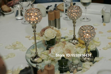 3pcs Different Height wedding candlestick with crytal diamond a set candelabra(China (Mainland))