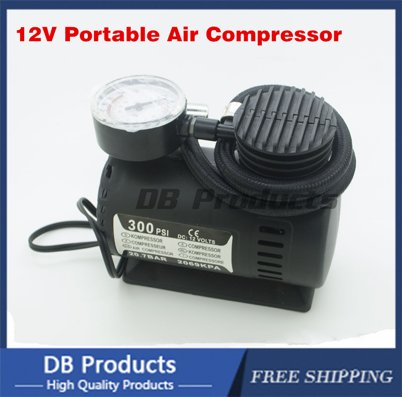 New Portable Mini 12V Car Air Compressor Electric Tire Infaltor Pump Tire Inflator 300PSI with 3 Pneumatic Nozzle(China (Mainland))