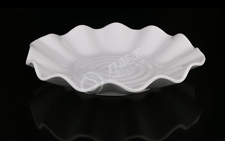 A5melamine tableware plastic porcelain white Lotus leaf plate 5.5-8.5 inch dish plate high temperature resistance 8645-HF4527(China (Mainland))
