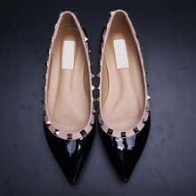 new 2015 luxury cat studs women flats shoes sexy pointed toe rivet full genuine leather casual shoes size 34-43 with package box(China (Mainland))