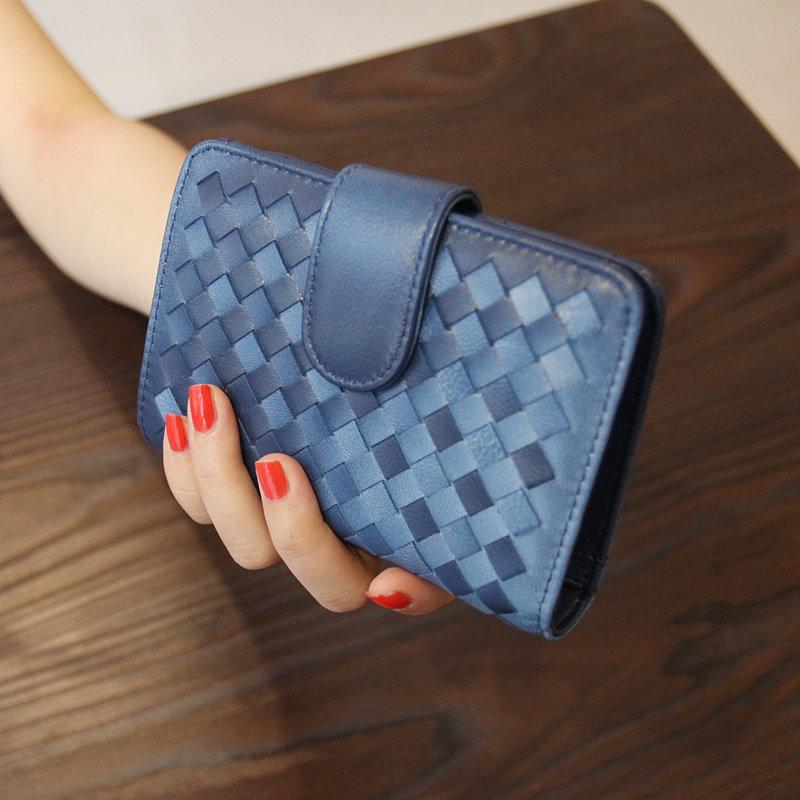 New European sheepskin women wallet Ladies Leather Velcro Wallet short card bag purse handbag(China (Mainland))