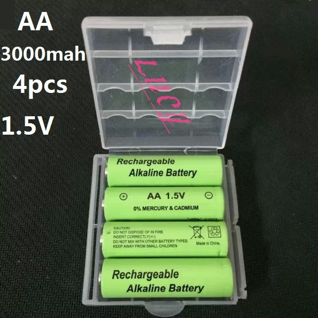 New 4pcs/lot aa batteries 3000mah 1.5V alkaline rechargeable battery with Good Packgae Quality batery for MP3 Toy cameras Free(China (Mainland))