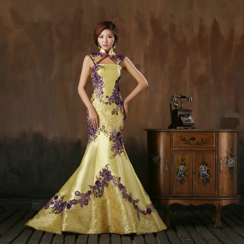 Customized Size Mermaid Satin Evening Yellow Dress featured Applqiues Beading High Neck Oriental Women Formal Dress(China (Mainland))
