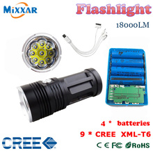 MI-9 18000 lumen led flashlight Torch 9x Cree 7x Cree 8x Cree XM-L T6 tactical Lantern torch and  4x18650 rechargeable battery(China (Mainland))