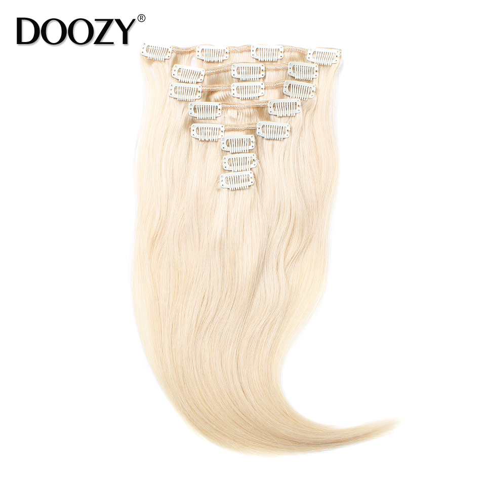 Doozy 8A clip in human hair extensions color 613 bleached blonde brazilian remy hair double weft clip hair extensions