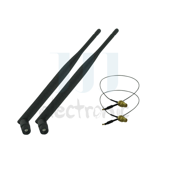 2 6dBi RP-SMA Dual Band WiFi Antennas + 2 U.fl Cables for Mod Kit Asus / D-Link Router(China (Mainland))