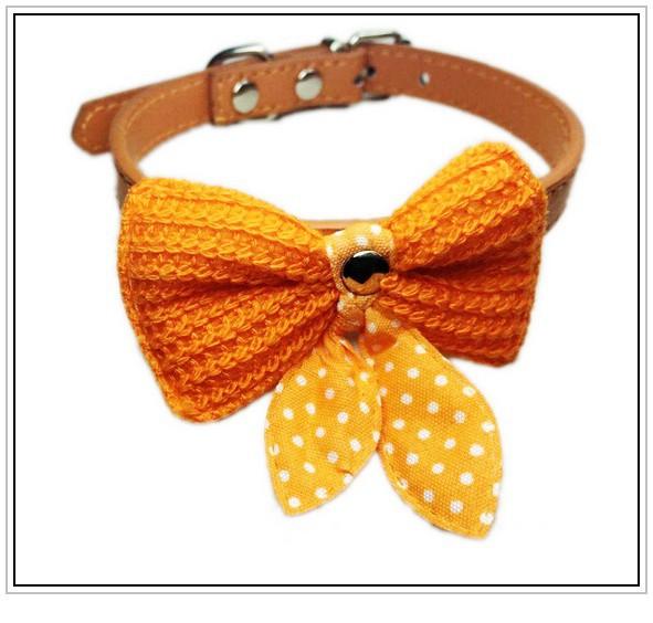 5pcs Free Shipping hot sale Knit Bowknot Puppy Pet Cat Collars PU Leather Dog Collar Pet dog supplies WNXQ076(China (Mainland))