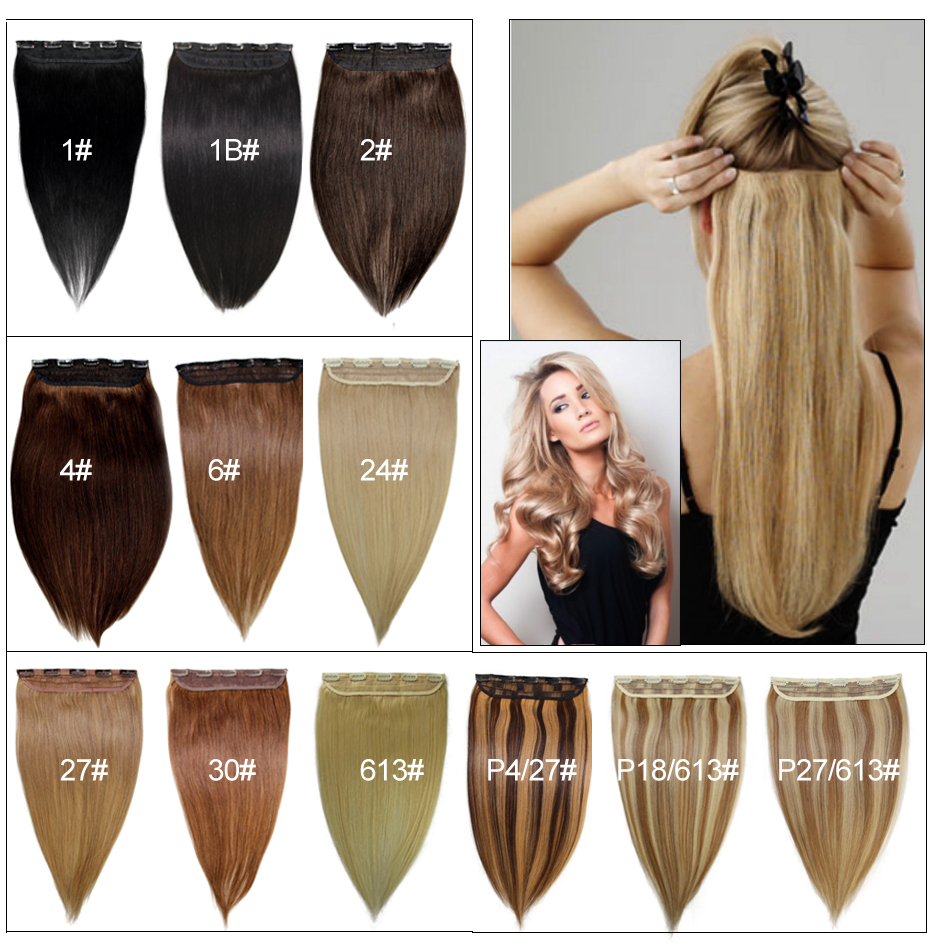Clip In Hair 1 Piece Set Remy Human Hair Clip Cheveux Extensions Clip Natural Hair Cabelo Tic Tac Human Hair Hairpiece Clip Ins