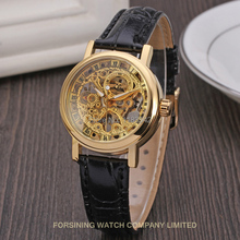 Winner Women s Watch Mechanical Hand wind Fashion Casual Leather Strap Analog Crystal Brand Wristwatch Color