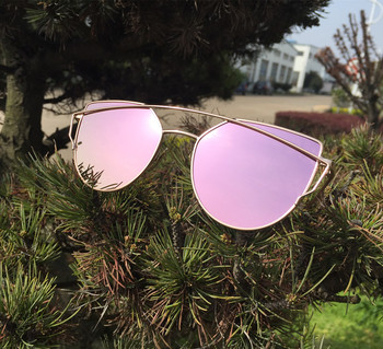 Mirror Flat Lense Women Cat Eye Sunglasses Classic Brand Designer Twin-Beams Rose Gold Frame Sun Glasses for Women with Box M195