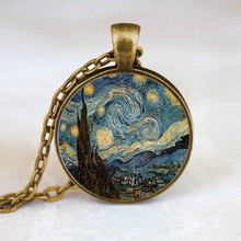 (1 Pieces/Lot) Van Gogh art jewelry, moon and stars necklace, Starry Night necklace Bronze