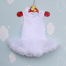 Newborn Princess Rose Flower Lace Tutu Dress Sleeveless Ballet Ruffle Silk Dresses(China (Mainland))