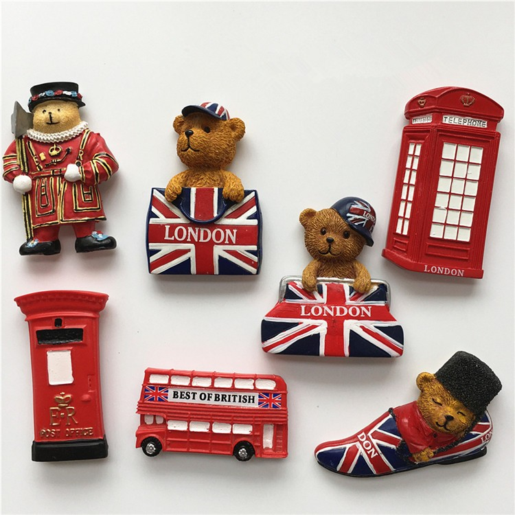 High-grade Handmade Painted British Bear Kettle Fridge Magnet Travel Souvenirs Refrigerator Magnetic Stickers Home Decortion
