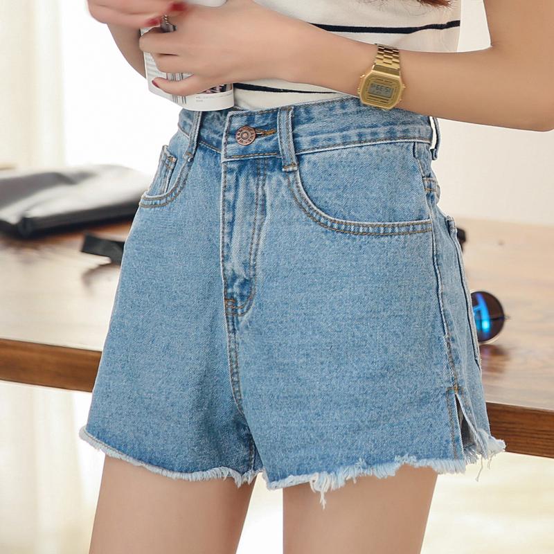 korean fashion short irregular high waisted skinny denim