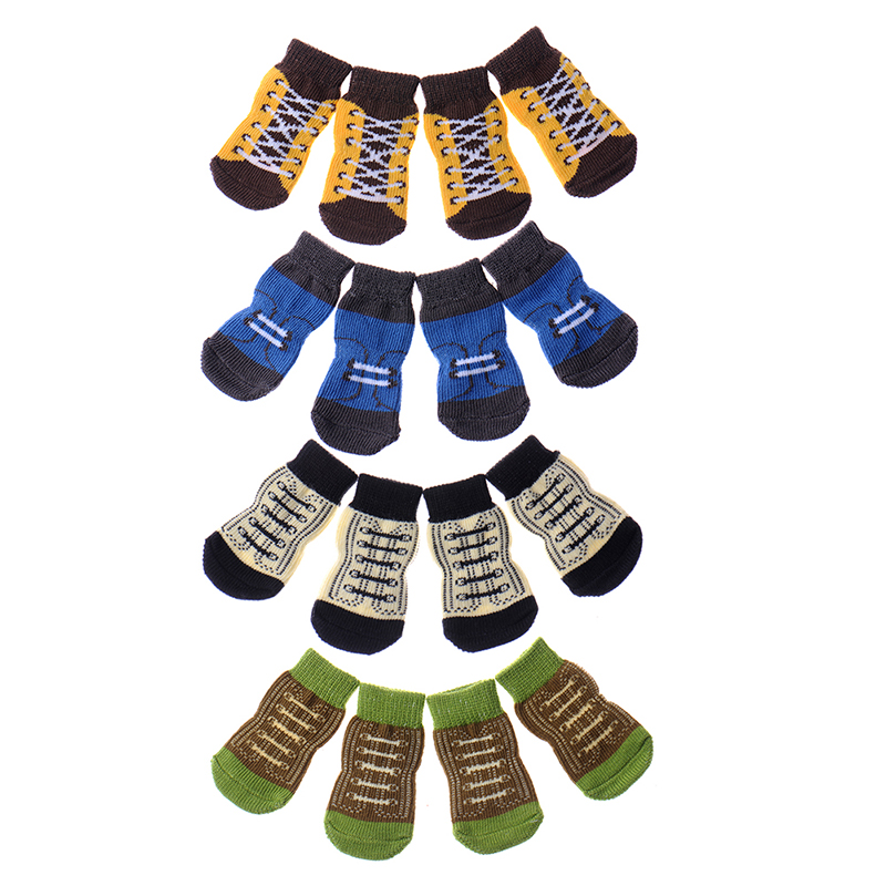 4pcs/set anti slip design warmer design pet puppy dog socks multi color dog foot wearing appareal clothing knit cotton for dogs(China (Mainland))