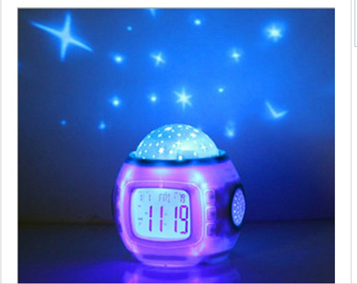 S00002 Change LED Moon & Stars Night Light Magic Starry Projection Projector LED Music Alarm Table Clock Calendar Thermometer(China (Mainland))