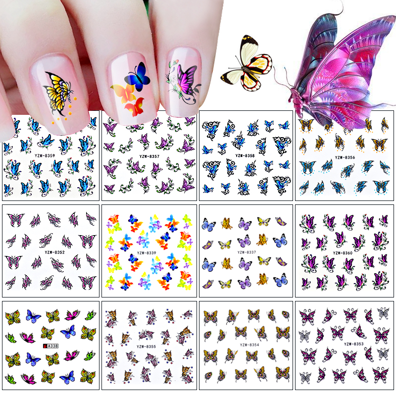 12 Designs Nail Sticker Butterfly Patterns Decals Water Transfer Image Tattoos Nail Art Decorations Sticker Tips Set(China (Mainland))
