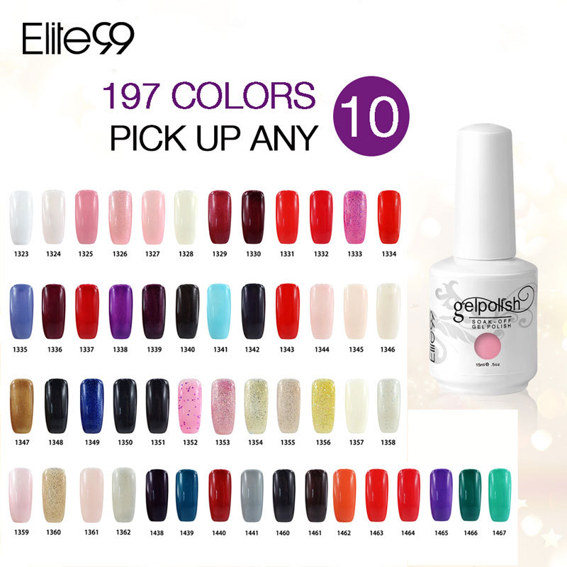 Elite99 15ml Soak Off UV Gel Nail Polish Wholesale Price Fashion Lacquers Gel Colors (Chose 10 From 498 Colors) DHL Free USA(China (Mainland))