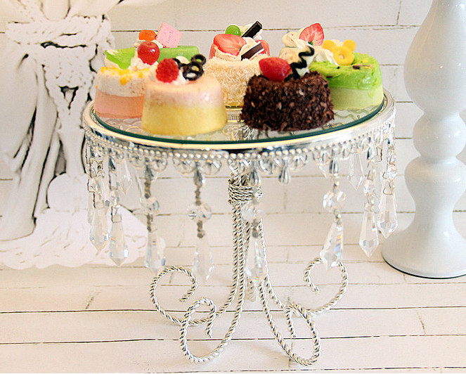 High quality Wedding party for decorate a cake tray glass mirror silver pendant dim sum afternoon tea tray cake stand(China (Mainland))