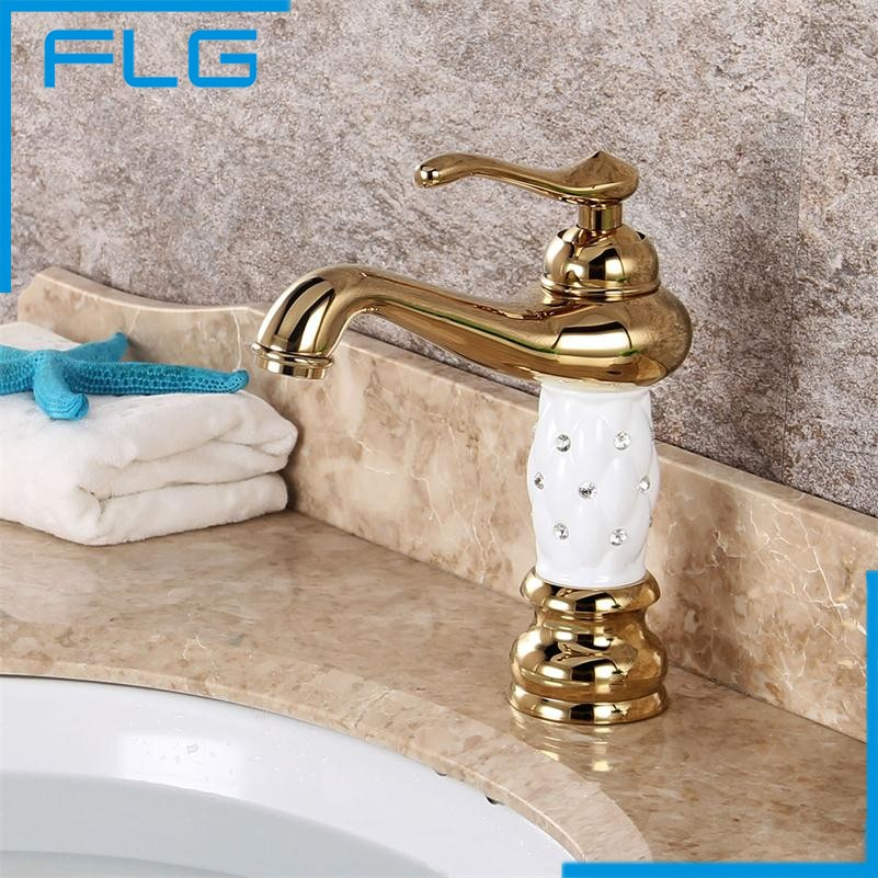 Free Shipping Bathroom Basin Gold Faucet, Brass with Diamond/Crystal Body Tap New Luxury Single Handle Hot and Cold Tap 100088(China (Mainland))