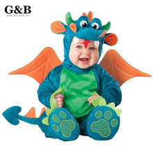 Triceratops Baby Infant Dragon / Dinosaur Romper Kids Onesie Suit Animal Cosplay Shapes Costume Child autumn winter Clothing(China (Mainland))