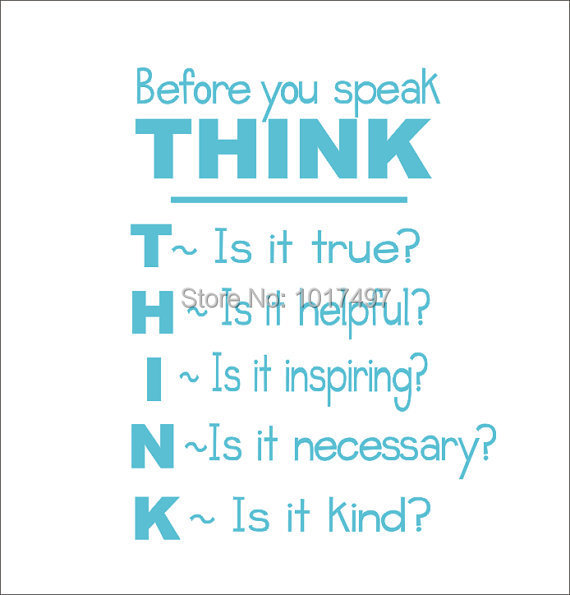 School Classroom Vinyl Wall Quote Decal Sticker , Think Before You Speak - Classroom Student Motivational POSTER Sticker k2061(China (Mainland))