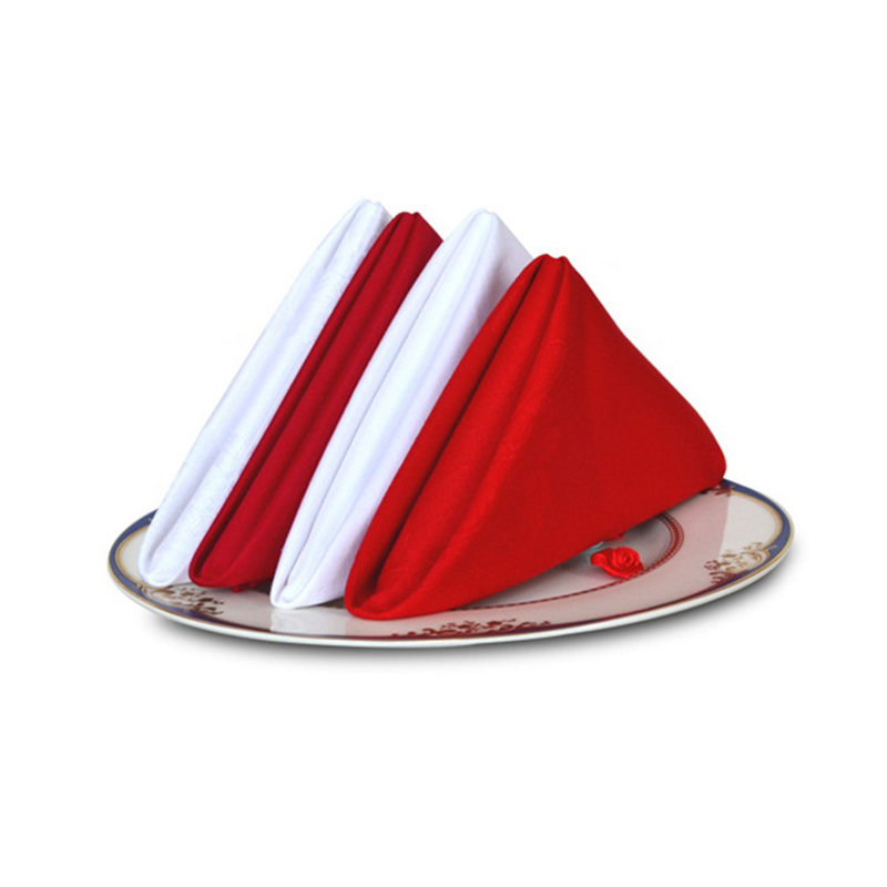4 Pieces 48*48cm White Red Table Napkins Cloth 100% Cotton Linen Napkins For Wedding Party Dining Event Restaurant Banquet CT(China (Mainland))