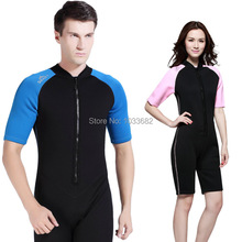 SBART 2mm Anti-UV one-piece short sleeve swimsuit sun protection jellyfish submersible snorkeling diving suit rushguards