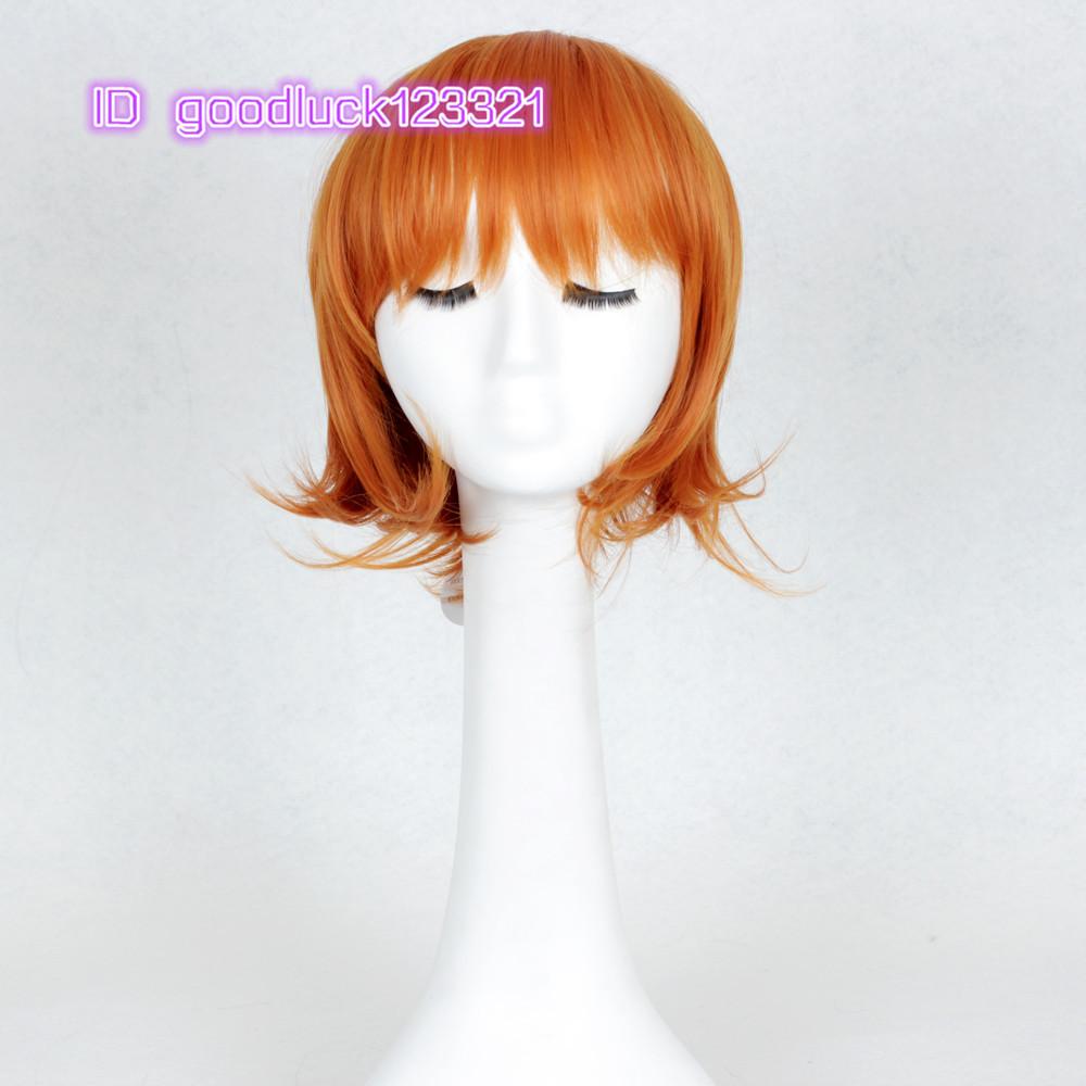 [해외]?아름다운 코스프레 가발 나미 30cm 오렌지 레드 고전 애니메..