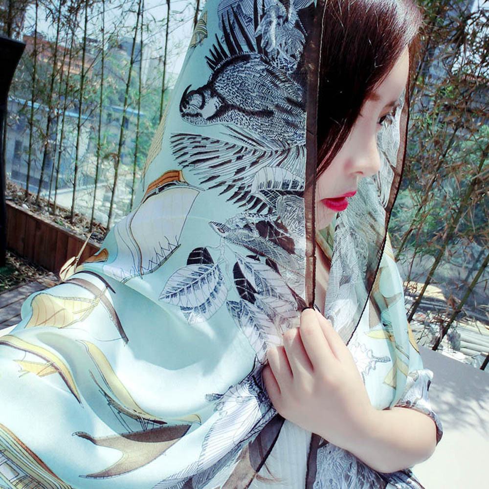 New Women Sailboat Twill Printing Scarf Shawls Long Paragraph Wrap Echarpes Foulards Femme Luxury #145(China (Mainland))