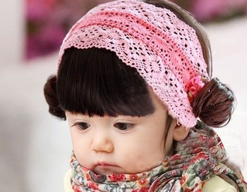 On Sale! New Fashion Infant Baby Girl Colorful curly hair Hairband Pink Headwear with curly hair (5 pcs/lot) Free Shipping