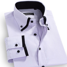 2016 Men Dress Shirt Bussiness Long-sleeved Double Layer Collar Button Down Patchwork Slim Fit Wrinkle Free Casual Mens Shirts(China (Mainland))