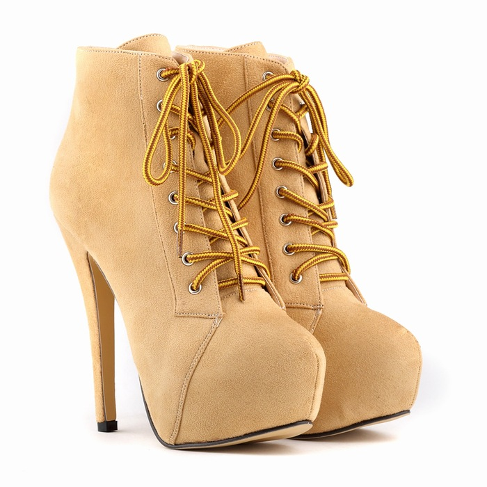 WOMENS FAUXLEATHER HIGH STILETTO HEELs PLATFORM ANKLE BOOTS SHOES 35-42 lace up LADIES office bar shoes