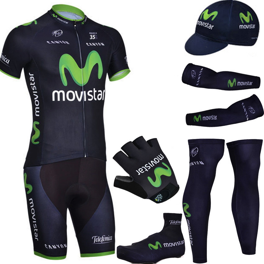 Фотография 2015 Movistar Team cycling jersey quick dry breathable cycling shirts bike shorts set gel pad cycle Maillot Culotte full