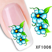 1Pcs Nail Art Water Sticker Nails Beauty Wraps Foil Polish Decals Temporary Tattoos Watermark + Free Shipping (XF1006)