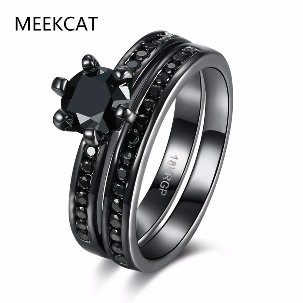 black gold wedding ring sets meekcat round blcak gold color ring sets aaa square black - Black And Pink Wedding Ring Sets