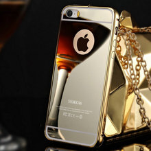 Ultra Thin Gold Mirror Case For iPhone 5 5S SE Luxury Aluminum Metal Frame Acrylic Back Phone Cover Bag For iPhone5 Coque(China (Mainland))