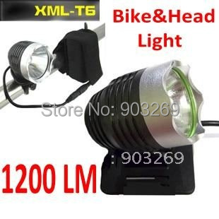 Free Shipping + 1Set XM-L T6 Bicycle Front Light 1200 Lumen 3 Mode Waterproof LED Headlamp +8.4v 4400mAh Battery Pack+Charger