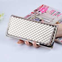 Wallets Women Purses Brands High Quality Fashion Grid Pattern Long Style Female Wallet Bright Leather Coin Phone Pocket