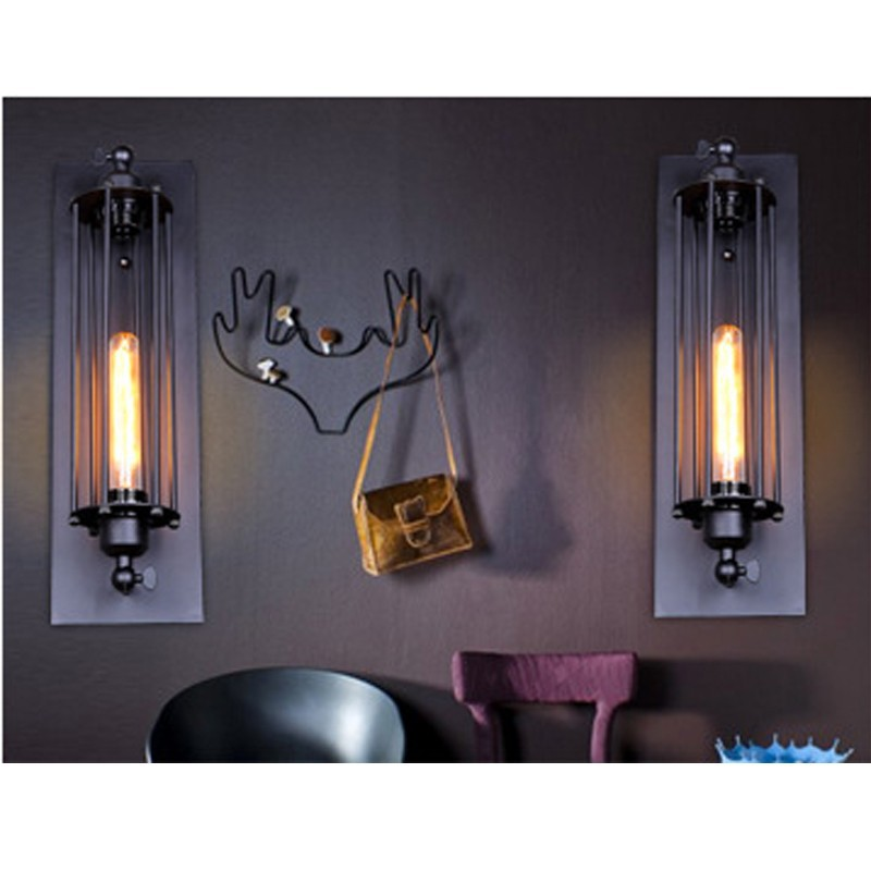 Free Shipping Vintage Style Alcatraz Island Metal Wall Lamp Black Rust Wall Sconce Indoor Deco Wall Light Fixtures With 1* bulb