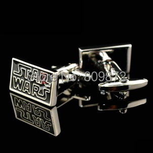 Promotion! Cuff Links wholesale&retail square star wars design black color copper material for men free shipping(China (Mainland))