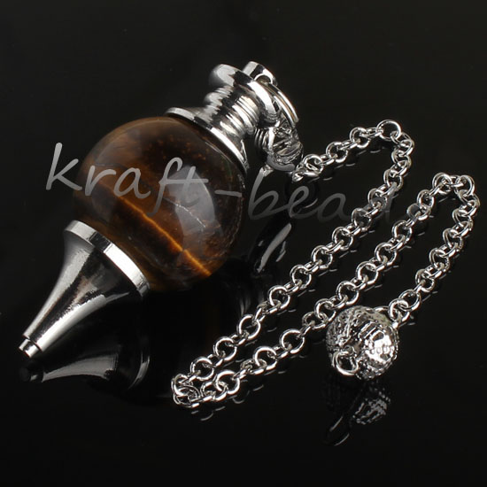 wholesale 10 Pcs Charm Tiger's eye precious stone Silvery Metal Ball Chain Dowsing Healing Chakra Pendulum