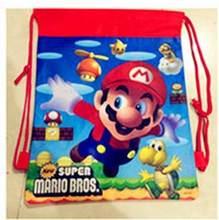 1pc Super Mario Bros Sacos de Escola para As Crianças de Super-heróis Homem-Aranha Brinquedos Dos Desenhos Animados Saco de Armazenamento De Cordão Mochila Compras saco(China)
