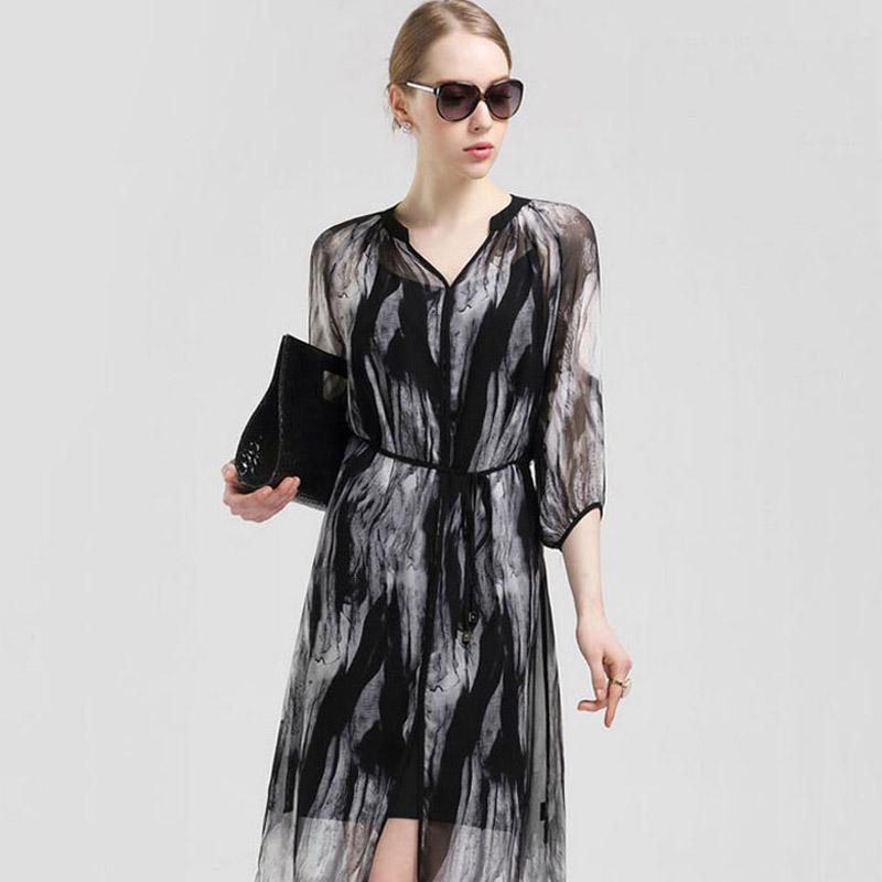Hot Sales 2015 New Summer European Style Silk Dress High-Quality Pure Silk Black Fashion Women Clothes AD-4